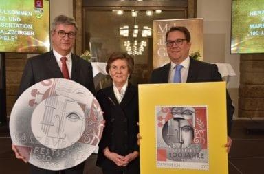 Münze und Briefmarke zu den Salzburger Festspielen